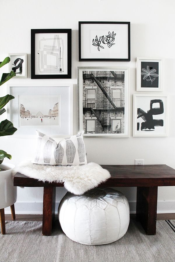 A Neutral Entryway Makeover With Minted Art Gallery Wall. Interior Design Inspiration.