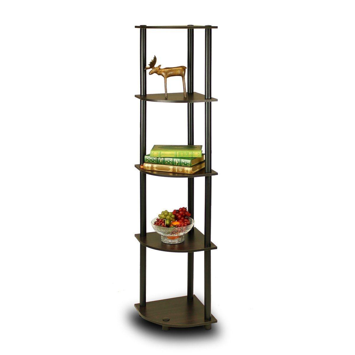 Tier corner display shelf bookcase in espresso u black display