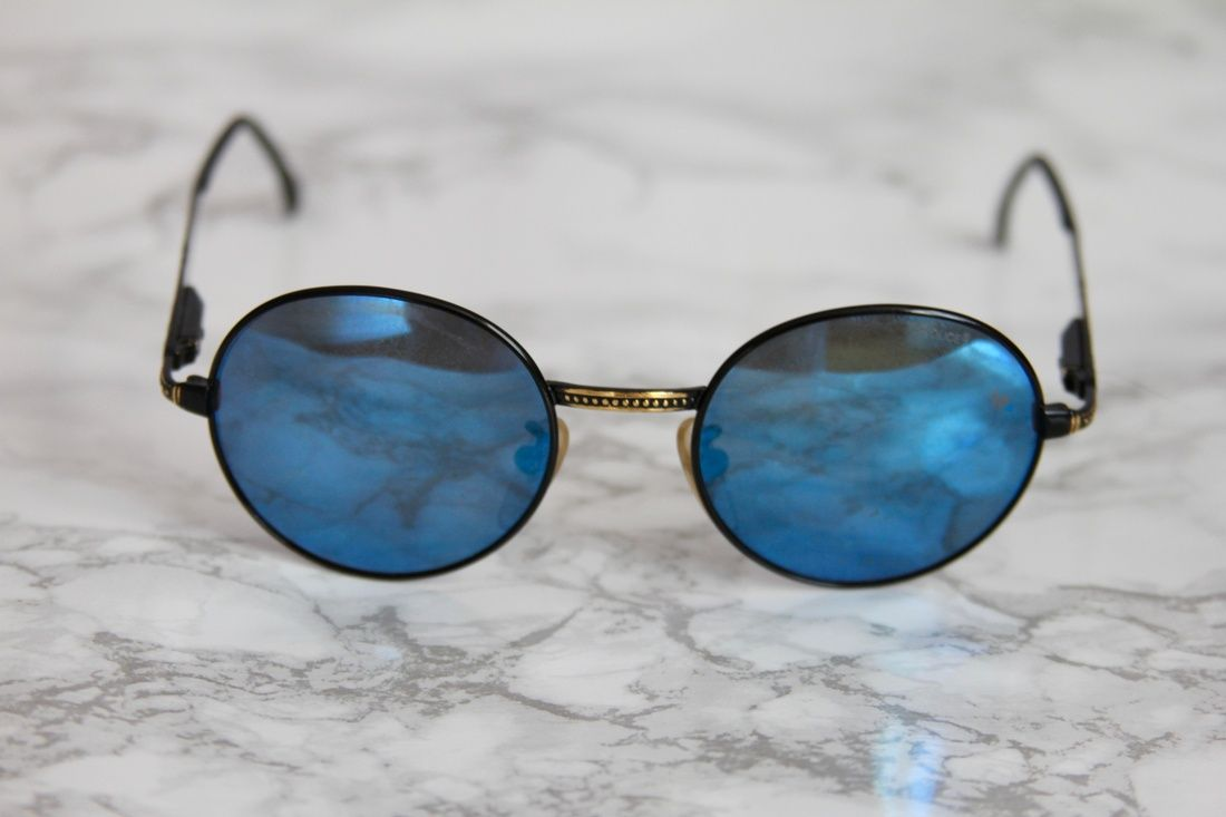 190f355b5 Vintage Police Sunglasses in Black with Blue Mirrored Lenses. Mod 2230.  Early 90s model. Lenses have some wear to them, but they're new and never  been worn.