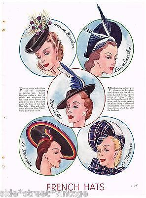 Seller Australian, not sure origin though. ALady. VINTAGE FRENCH HATS AD WOMEN'S FASHION 1930's VINTAGE ORIGINAL Fashion Print