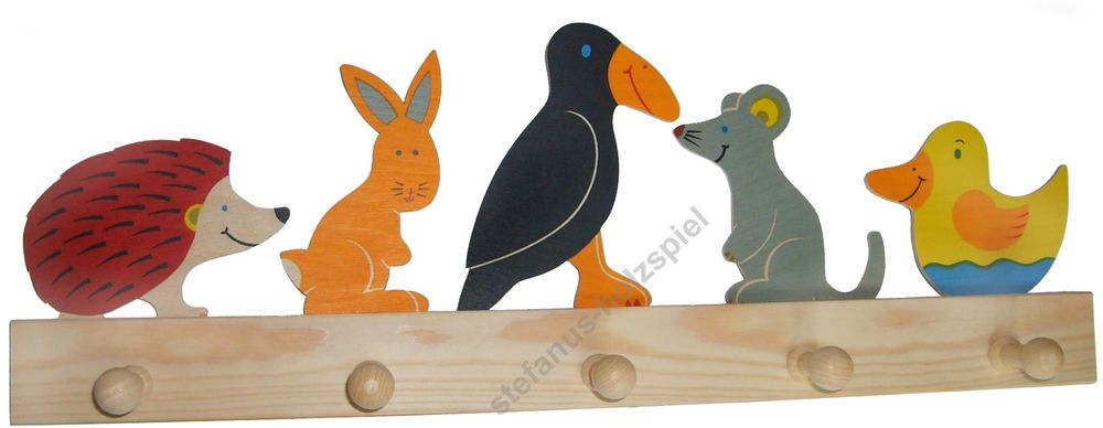 Kinder Garderobe Tiere Rabe Igel Maus Hase 5 Haken 50cm Holz