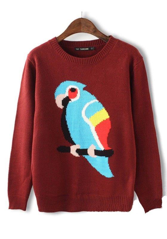Dark Red Parrot Print Round Neck Knit Sweater #CiChic