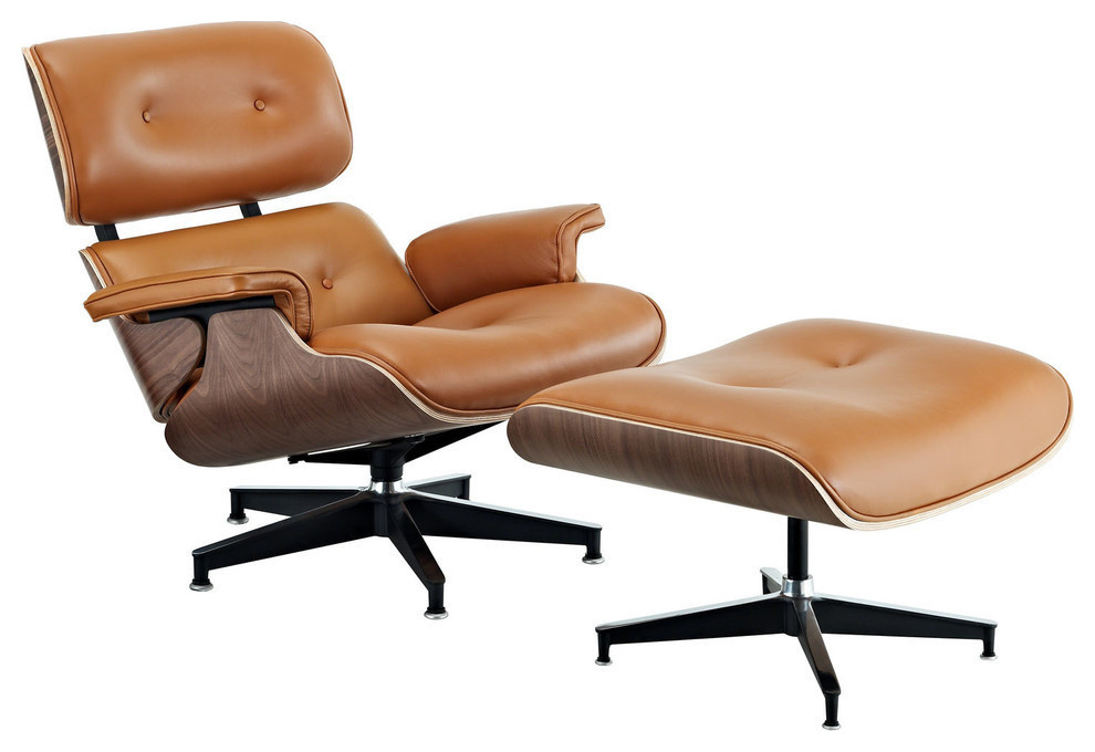 Aniline Leather Lounge Chair And Ottoman Midcentury Armchairs And Accent Chairs By Times With Images Eames Style Lounge Chair Eames Lounge Chair Leather Lounge Chair