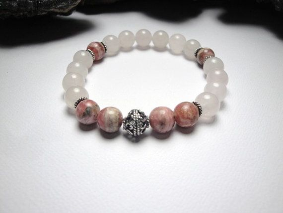 Rhodochrosite and Rose Quartz Stretch Bracelet with by LizDesign7, $25.00