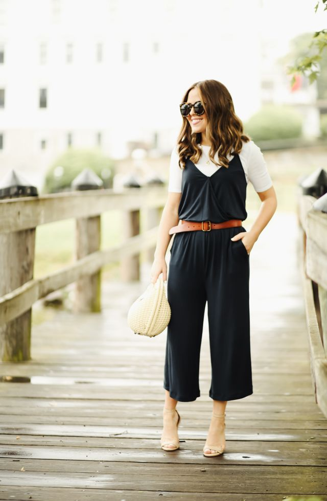 81c29b7e287f White t-shirt+black cropped jumpsuit+cognac belt+nude ankle strap heeled  sandals+ivory raffia handbag+sunglasses+gold necklace. Summer Casual Outfit  2017