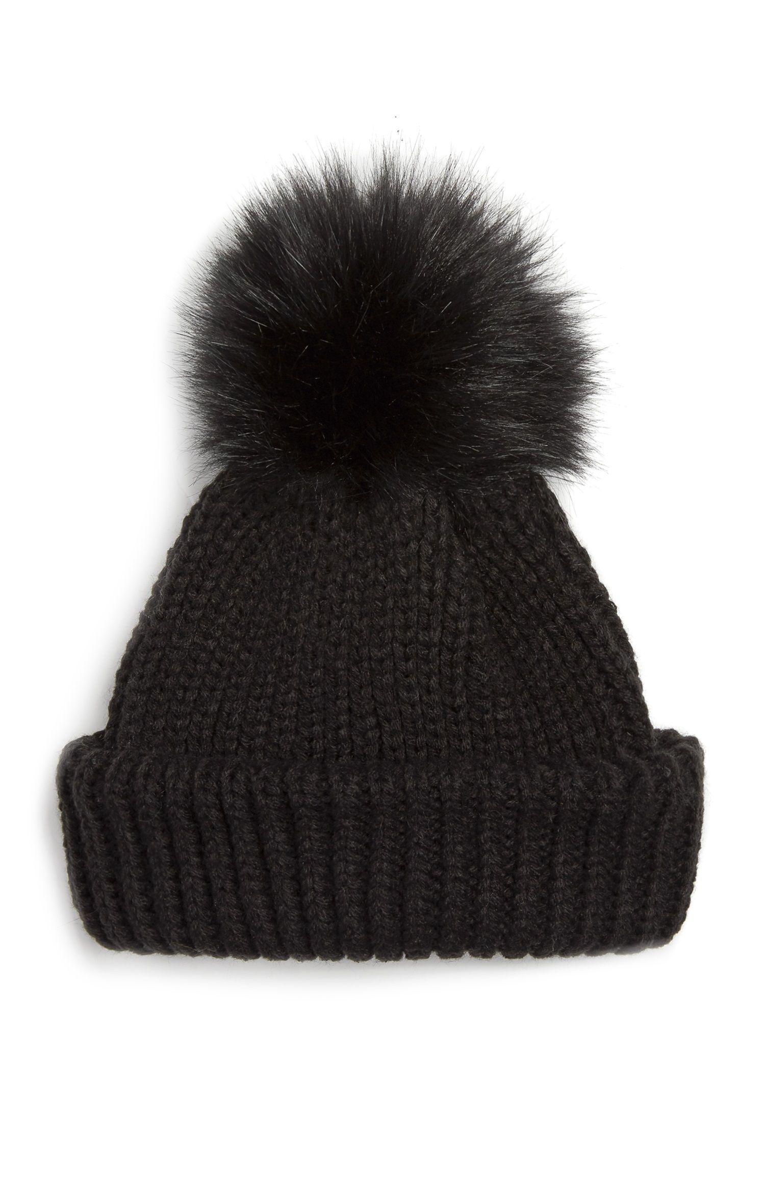 Primark - Black Faux Fur Ribbed Beanie  38d4b46883d