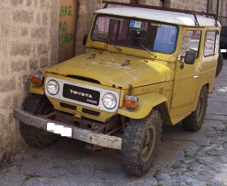 Old Toyota Land Cruiser. Think durable.
