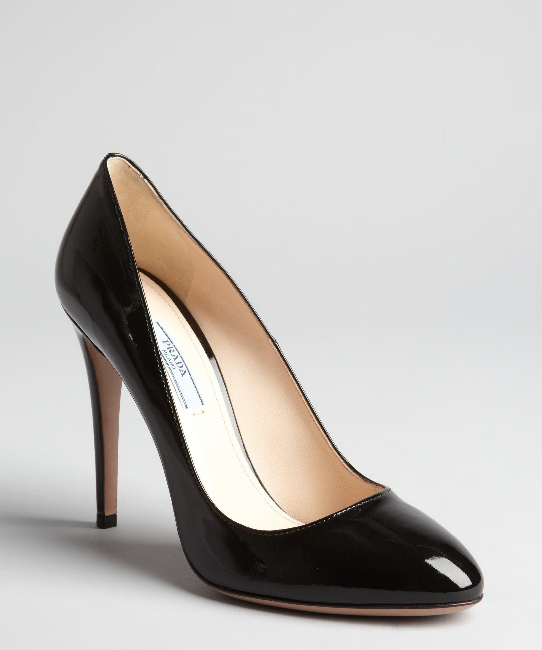 Prada black patent leather round toe