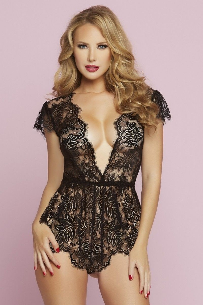 8d79f0d33765 STM10718 STM  Eyelash  lace  romper with  plunging  neckline  teddy   lingerie  black or  red  so  sexy  3  love