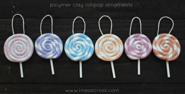 Clay Lollipop Ornaments – Lines Across