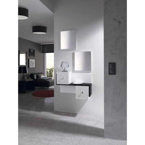 Conjunto recibidor formado por dos espejos y un mueble con dos ...