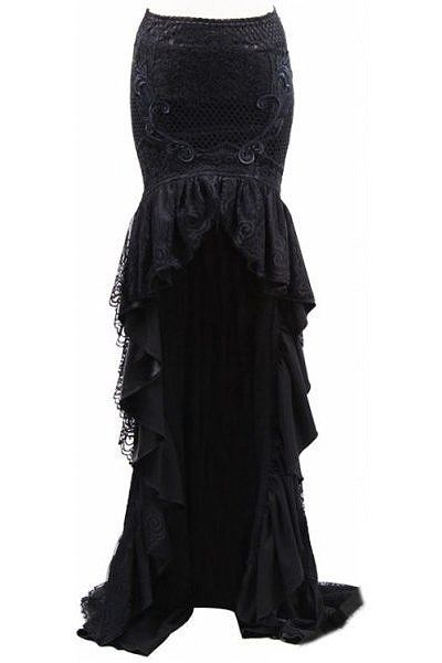 Black Gothic Lace Fishtail Skirt - Devilnight.co.uk