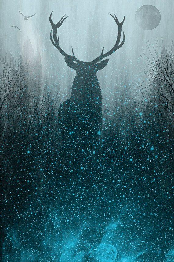 Deer Painting | Deer Canvas | Space Painting | Space Canvas | Galaxy Painting | Galaxy Canvas | Mystical Painting | Antlers Painting #spacedrawings