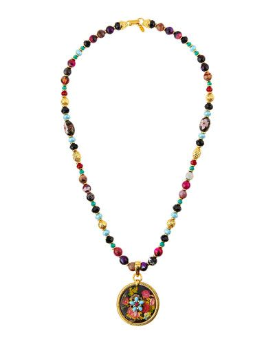 Jose & Maria Barrera Long Beaded Fire Agate Necklace w/ Floral Pendant SKJry