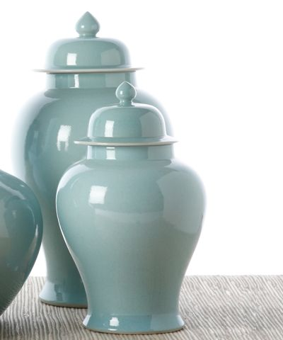 Dining room- Set of 2 Aquamarine Covered Temple Jars