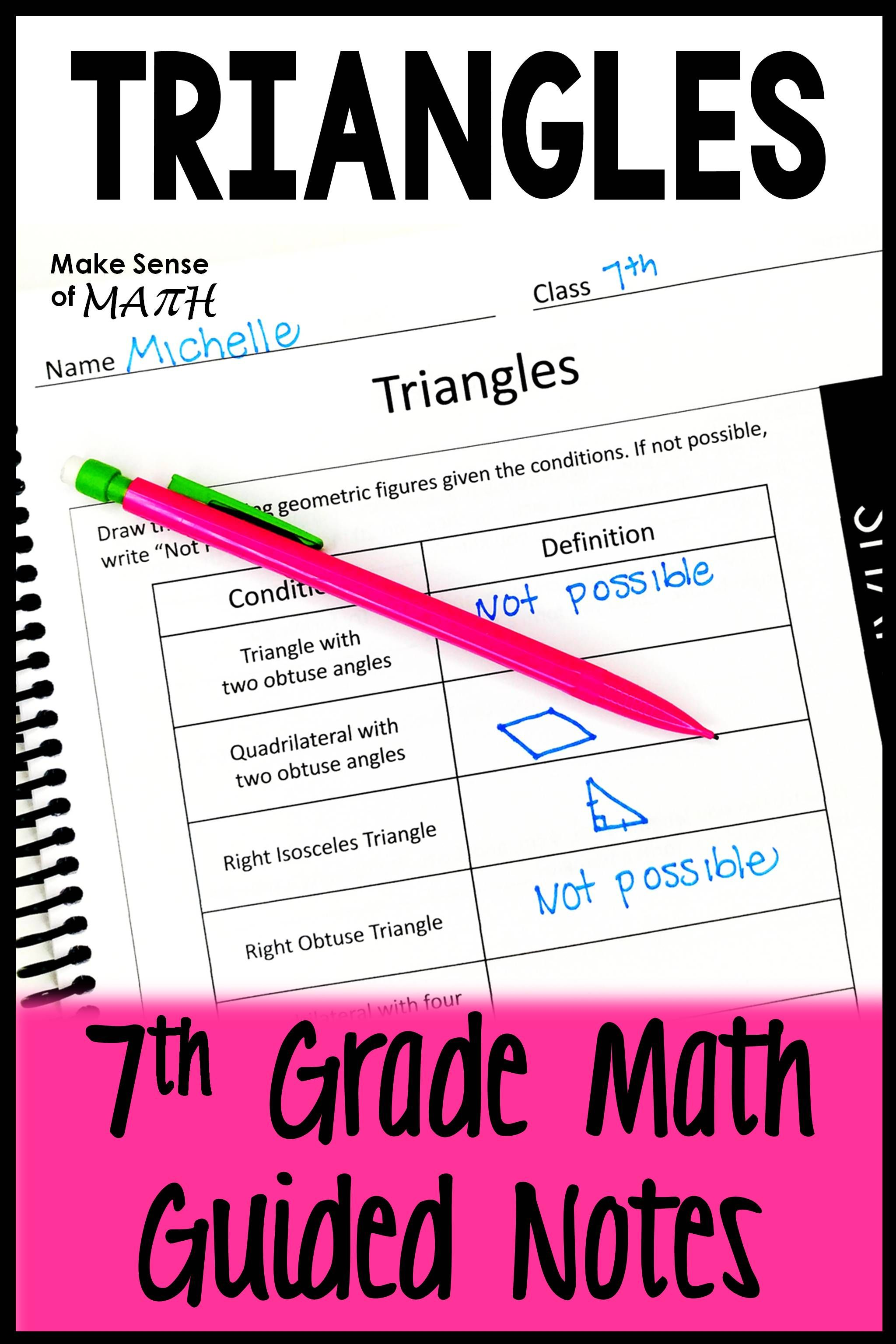 Triangles Guided Notes Triangles Notes Maths Activities Middle School 7th Grade Math Math Guided Notes [ 3072 x 2048 Pixel ]