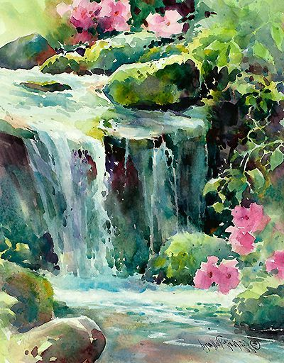 How To Paint Waterfalls In Watercolour Waterfall Paintings