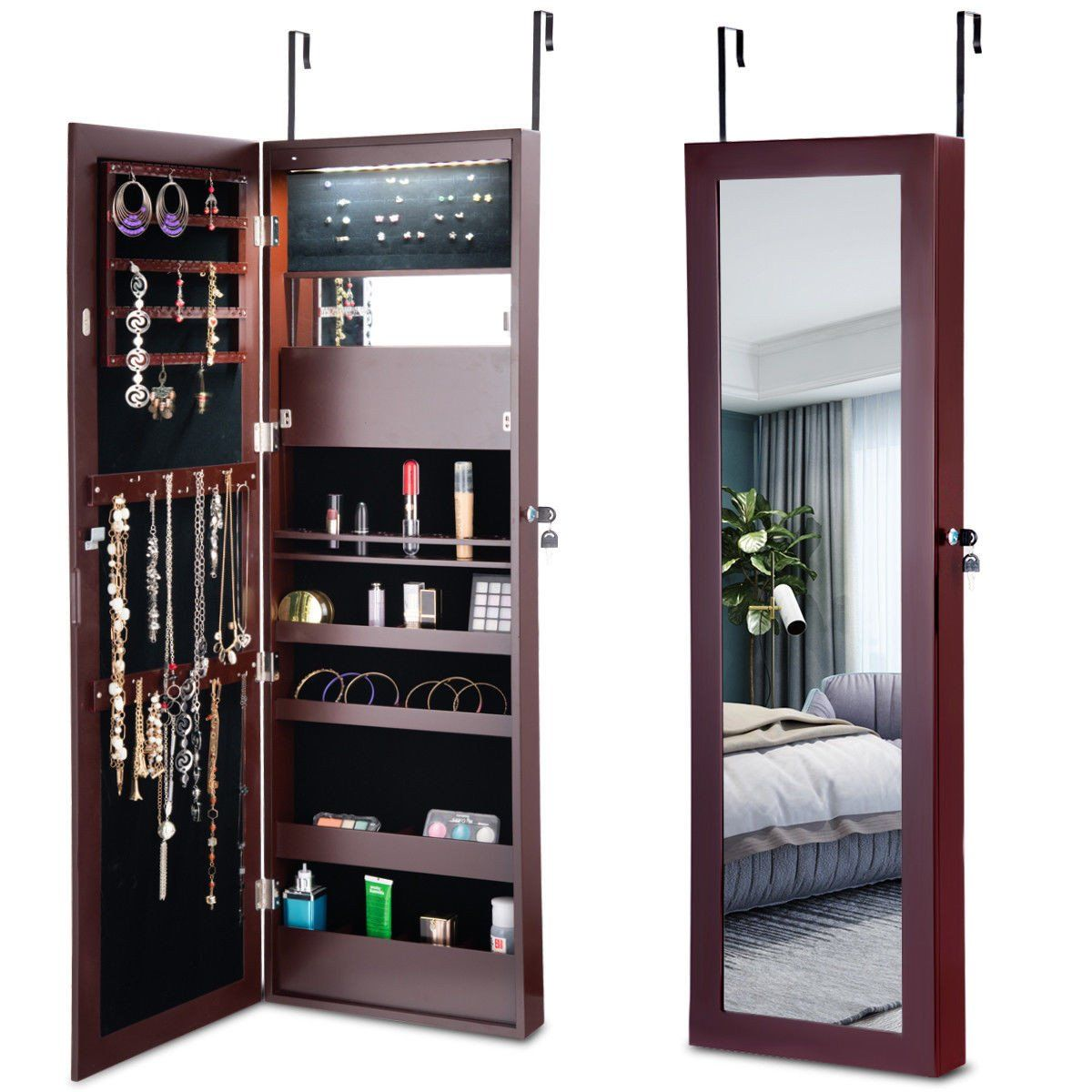 Costway Lockable Wall Door Mounted Mirror Jewelry Cabinet Armoire Organizer W Led Lights Mirror Jewellery Cabinet Jewelry Cabinet Jewelry Mirror