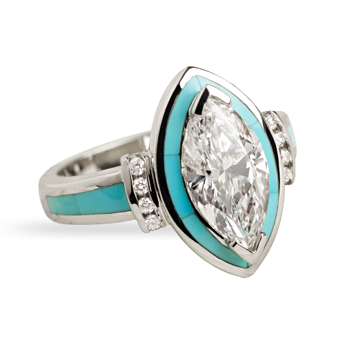 Sleeping Beauty Turquoise Ring Vintage Antique Style Jewelry Birthstone Jewelry Turquoise Band Diamond Ring Turquoise /& Diamond Ring