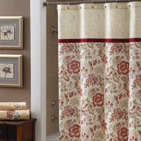 Croscill Romance Shower Curtain Intricate Jacobean Floral Print For The Body In Shades Of Red Rose And Beige Soft Curtains Croscill Bedding Shower Curtain