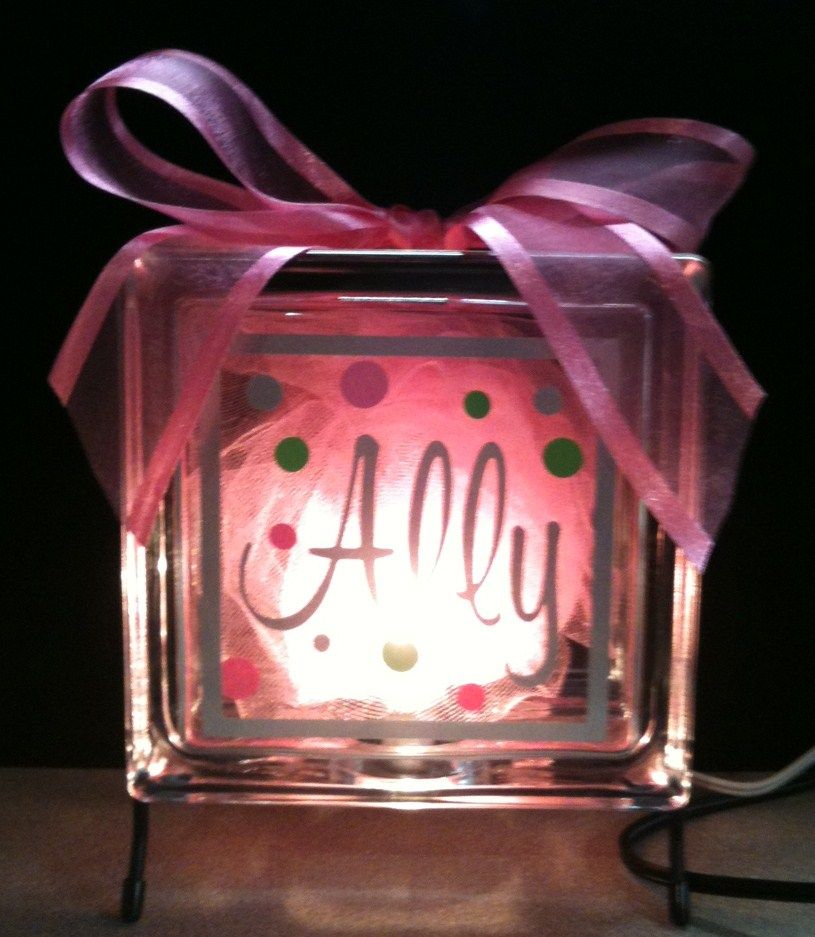 Diy glass block nite light the girls could use these for Glass block for crafts