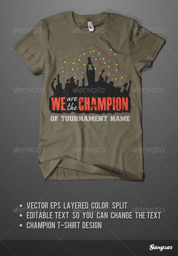 13af2eb9 T-Shirt Design for the real champion. Vector illustration. All text are  easy editable and ready for print.