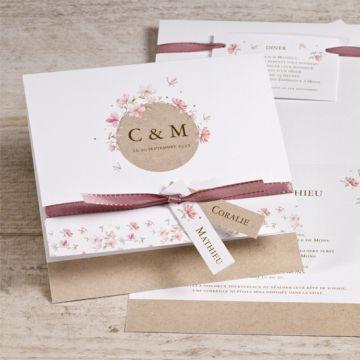 Faire part mariage fleurs printanières et ruban rose