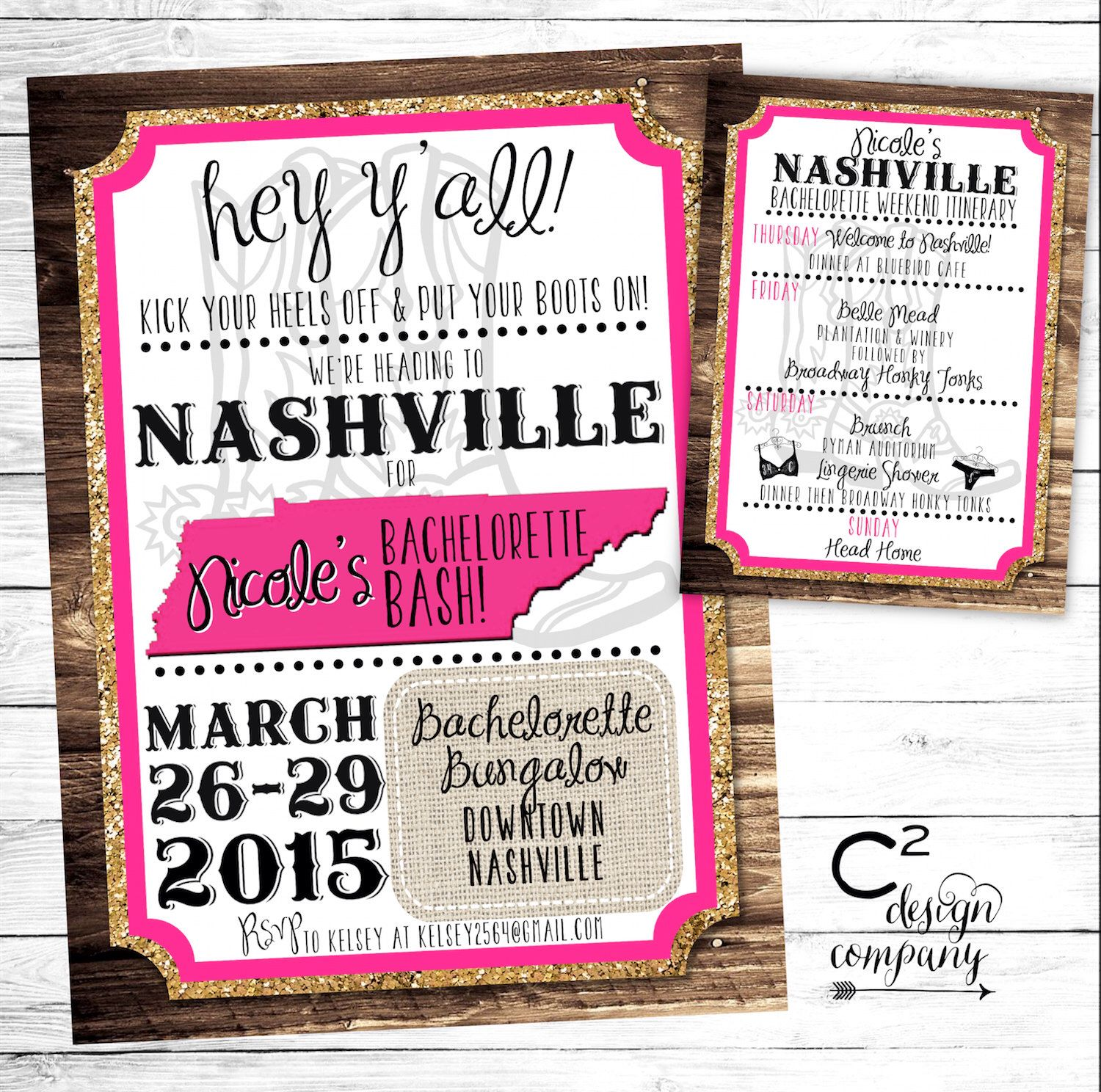 Gold Glitter Nashville Bachelorette Party Invitation with ...