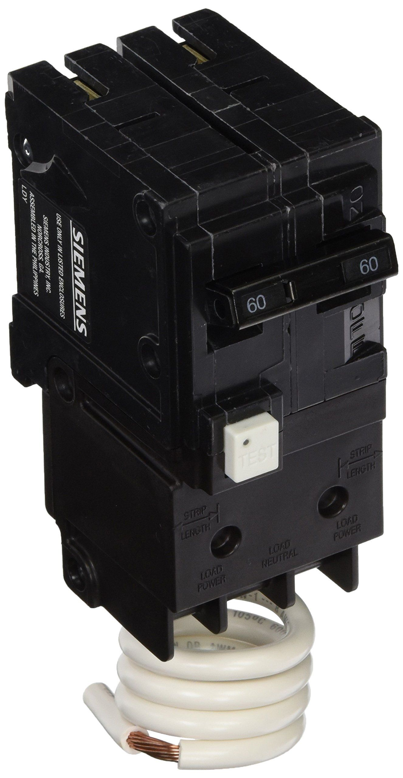 Siemens Qf260a 60 Amp 2 Pole 120 240v Ground Fault Circuit Interrupter With Self Test And Lockout Feature To View Siemens Lockout Construction Applications