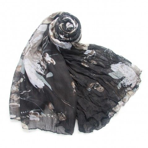 Black and Tan Floral Lightweight Scarf