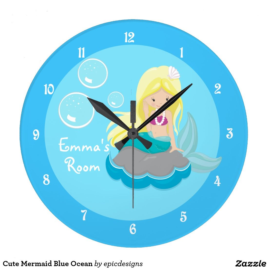 Cute Mermaid Blue Ocean Clock for a beach house with your own personalized text