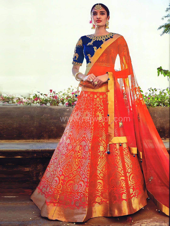 65f16820c Brocade Silk Lehenga Choli...  rajwadi  lehengacholi  weddingseason   weddingdress  embroidery  lehenga  ethnicwear  bridalwear  designerwear   onlineshopping