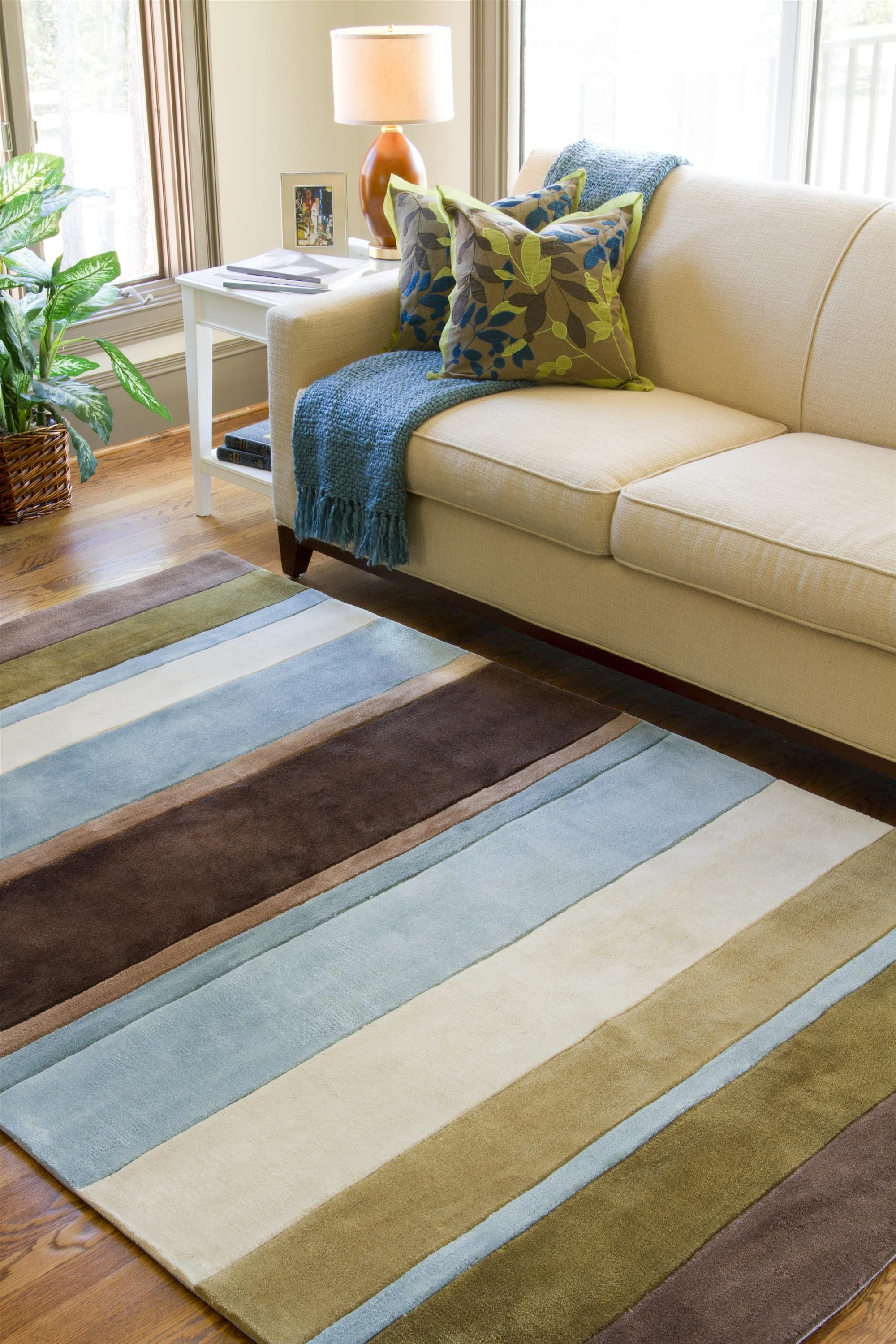 Striped Rug In Living Room Surya Cosmopolitan 9 X 13 Solids Tone On Tone Stripes Rug