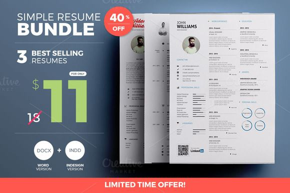 Simple #Resume - #Bundle #Edition by PAUL on Creative Market - amazing resumes