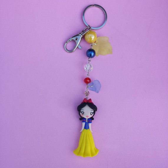 Keychains snow white in fimo polymer clay by Artmary2 on Etsy