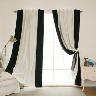 For Aurora Home Vertical Colorblock Faux Silk Blackout Curtain Panel Get Free Delivery At Your Online Decor Outlet