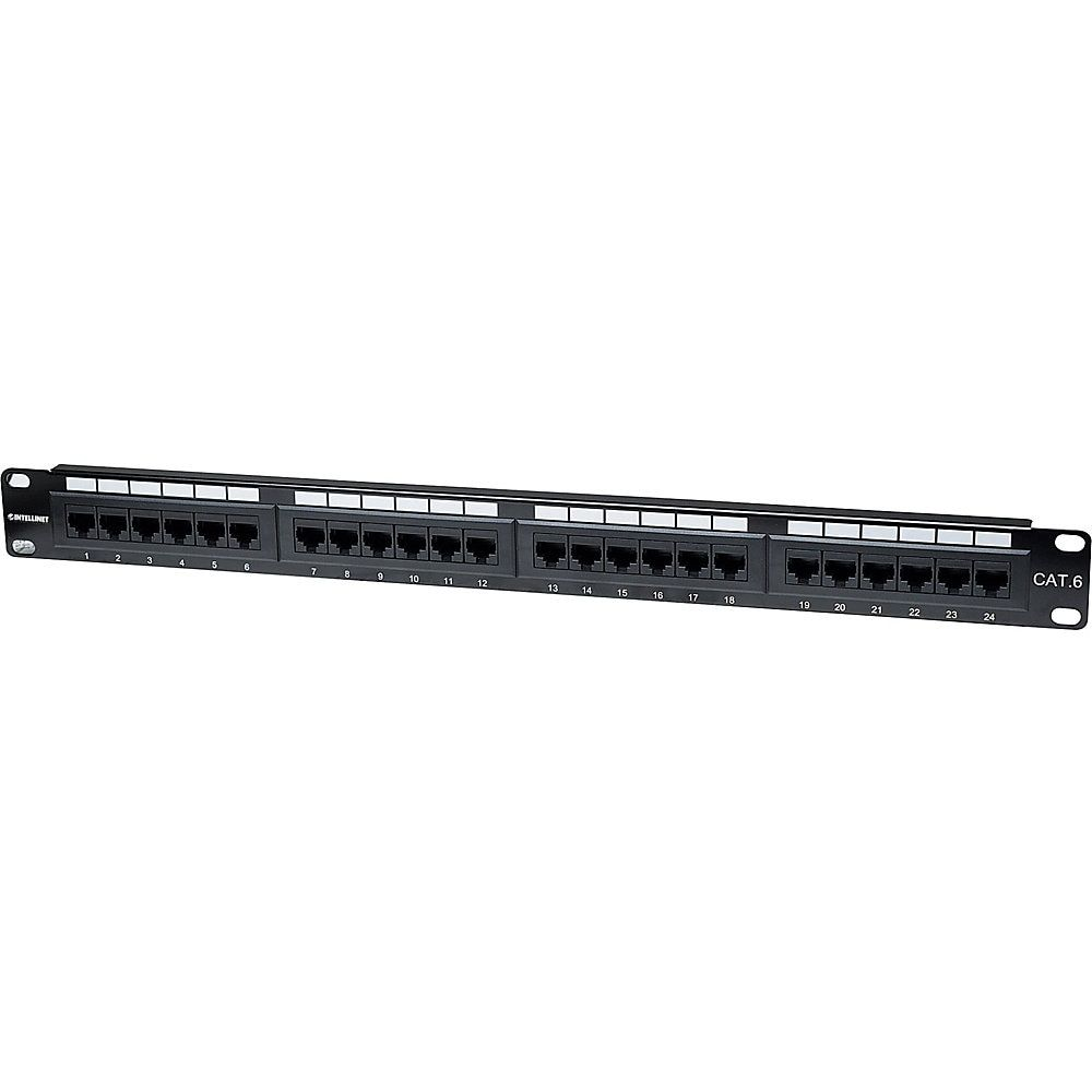 Intellinet Network Solutions 24 Port Rackmount Cat6 Utp 110 Krone Patch Panel 1u Supports 22 To 26 Awg Stranded And Solid Wire Network Solutions Twisted Pair