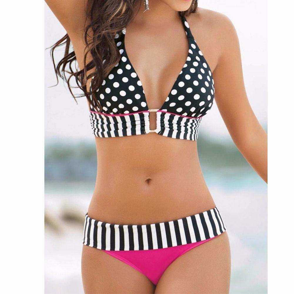807443f86d92a Hellooo bikini babes! Mix your swimwear up with something fun and bubbly  with this Polka Dot Sexy Women Swimwear Bikini Set. With bold patterns like  black ...