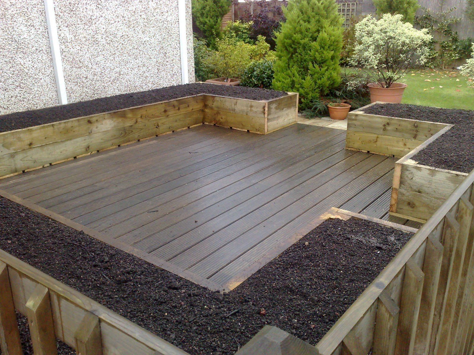Garden And Patio Deck And Patio With Hardwood Floor Tiles