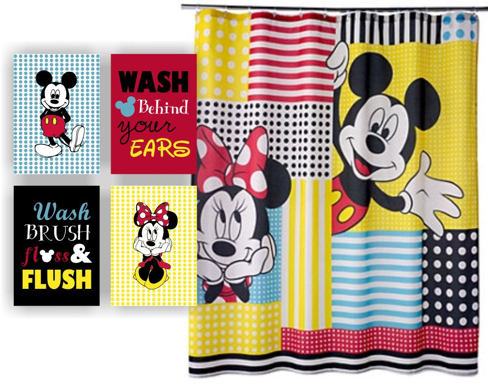 Set of 4, 5x7, Disney Printable, Mickey Mouse and Minnie Mouse ...