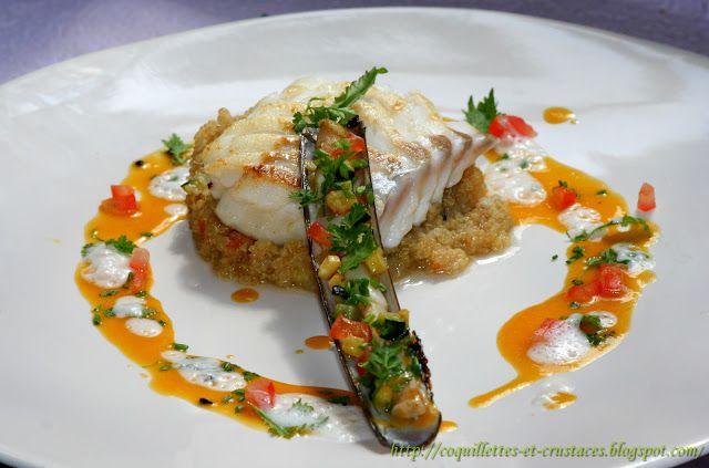 Dos de cabillaud, Quinoa comme un risotto, couteaux aux légumes et sa sauce aux fruits de la passion/coco…