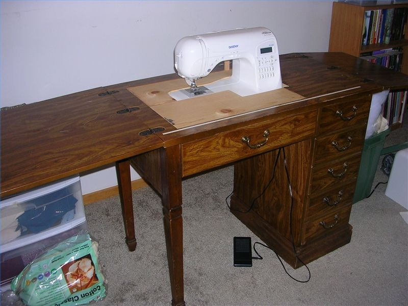 How To Convert An Old Sewing Cabinet Or Table To Hold A New Sewing Best How To Set Up A Sewing Machine Table