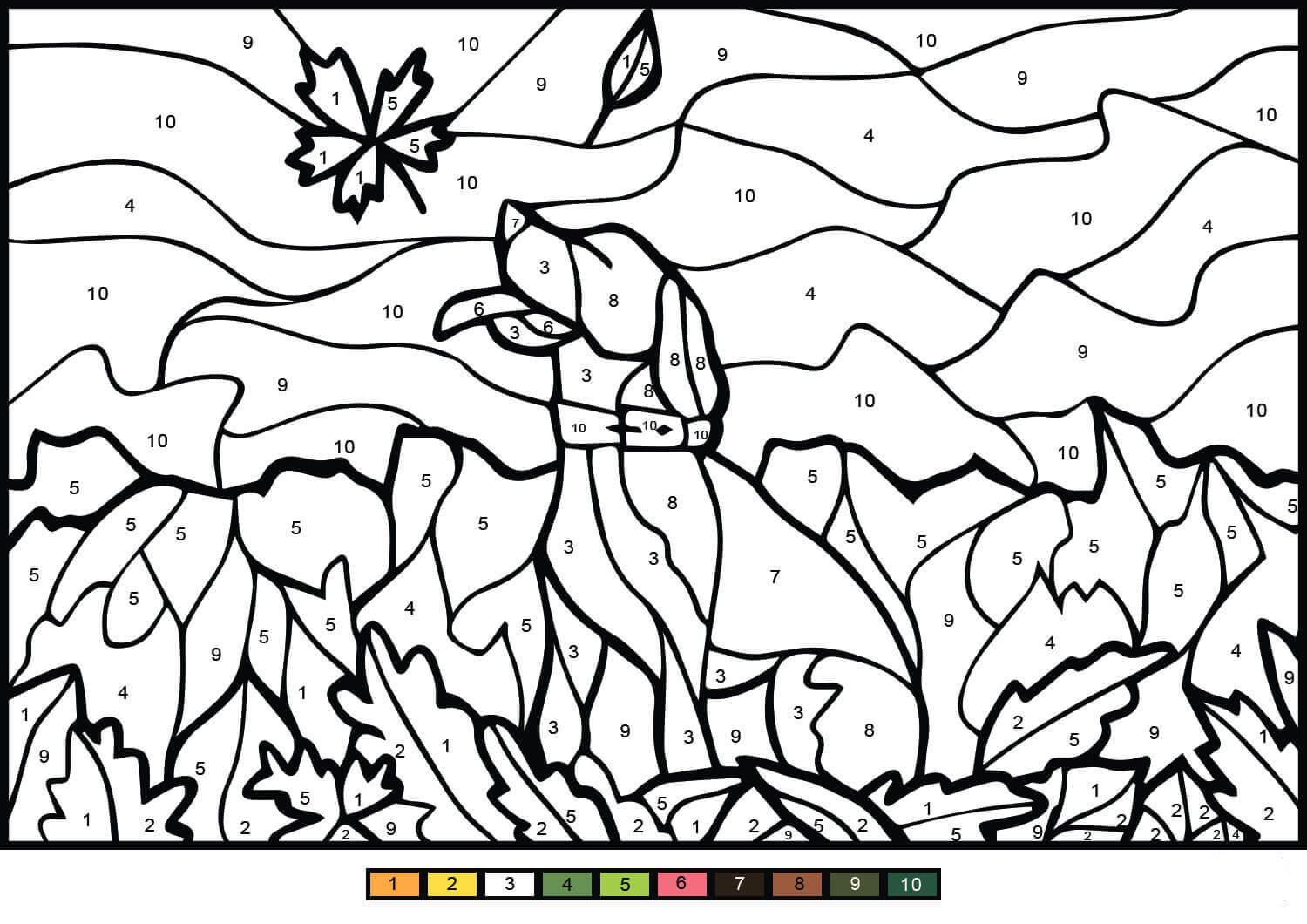 Dog Color By Number Dog Coloring Page Love Coloring Pages Coloring Pages For Teenagers