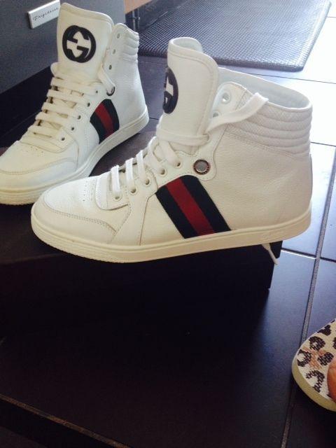 953e60a9e017 Gucci Blanco Coda Hi Top Sneaker Talla 8