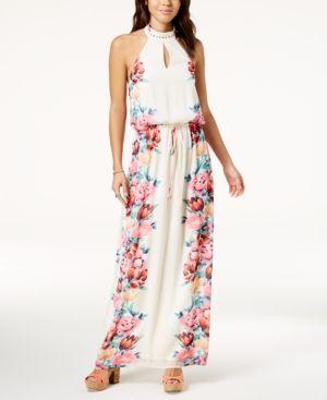 adbea9590 City Studios Juniors  Floral-Print Maxi Dress - Ivory Pink