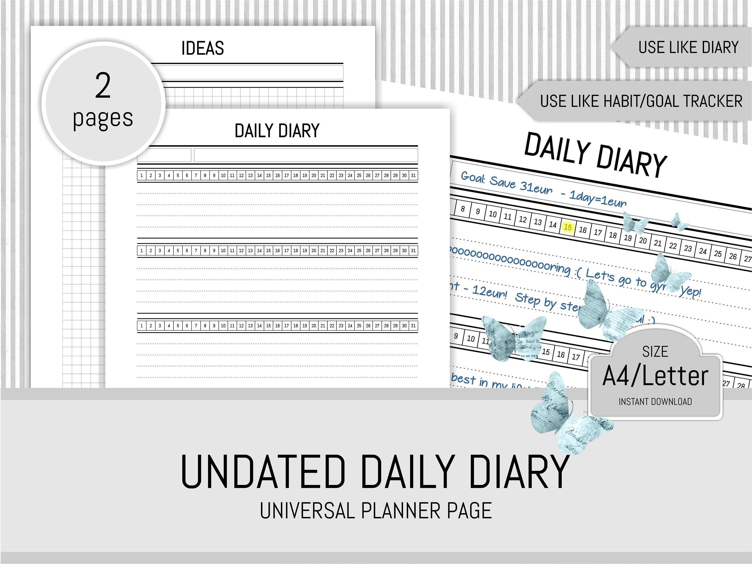 universal daily diary undated planner page printable ideas page