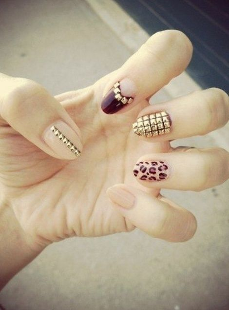 Tumblr, fashion nail art, bedazzled nails, metal nails, different nails, want these
