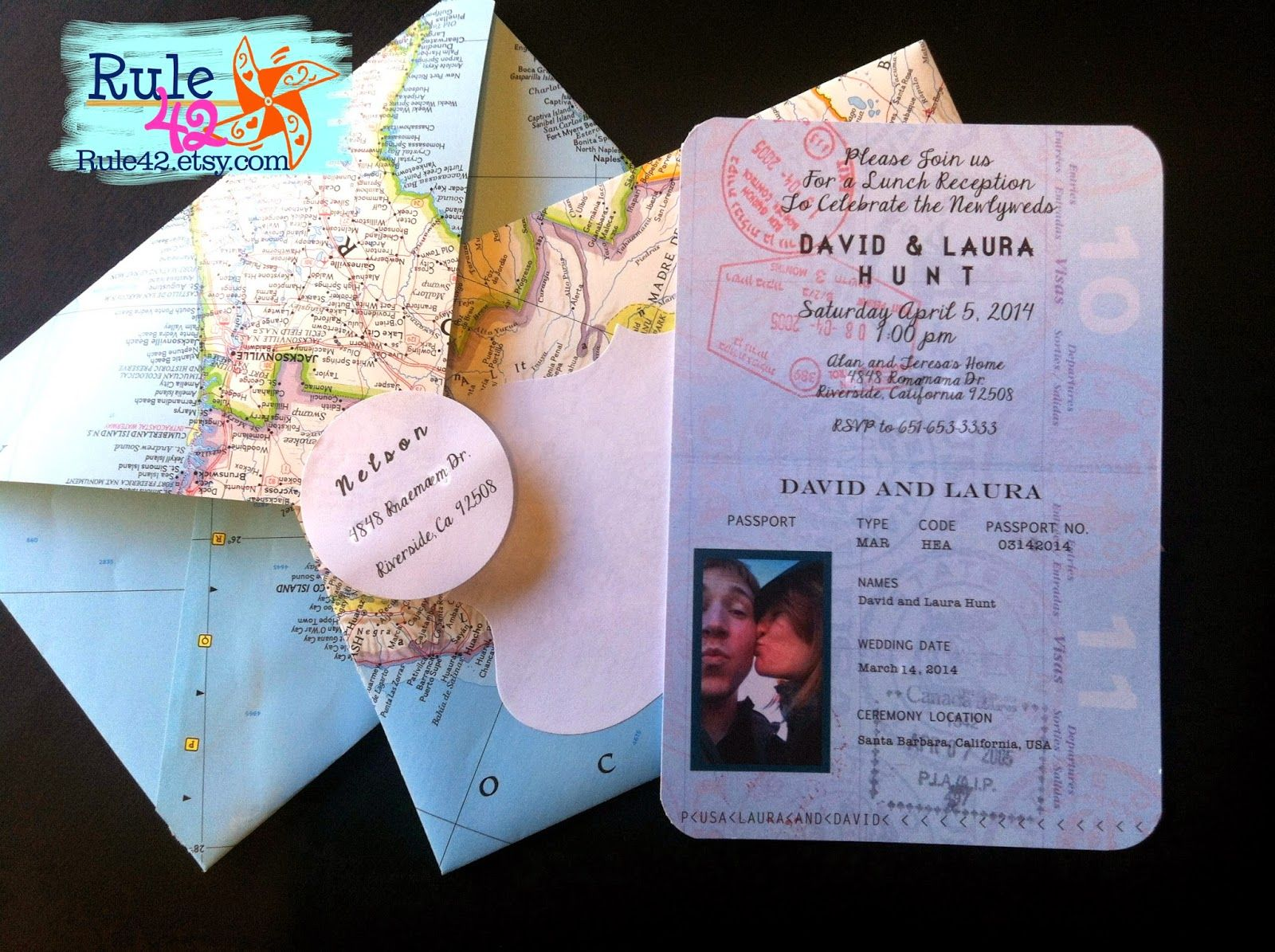 wedding invitations map%0A Passport Invitation by Rule   etsy com Travel wedding  maps  atlas  travel