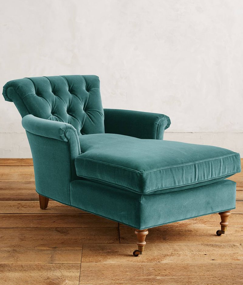Teal Velvet Gwinnette Chaise Lounge Chaise Lounge Chair Furniture Chaise Lounge