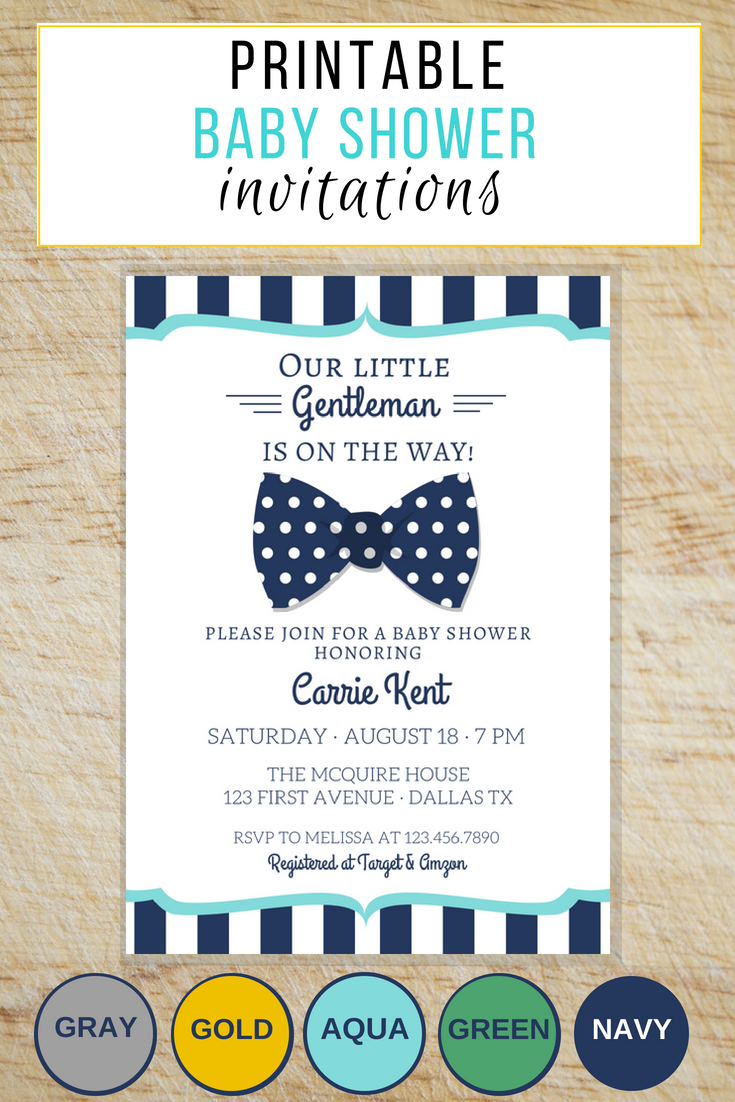 LOVE this invite for little gentleman baby shower invitation with the bow  tie and the proper preppy look!! Plus there's 5 color combos.